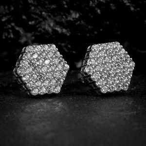 Sterling Silver Cluster Zig Zag Set Stud Earrings